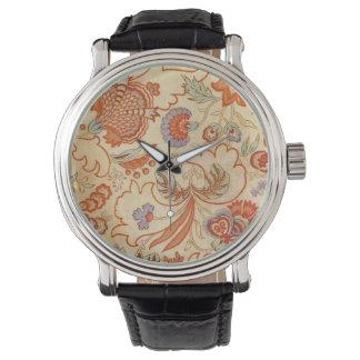 珊瑚のオレンジ花のChintzのペイズリー 腕時計