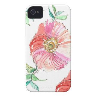 珊瑚のケシの水彩画のiPhoneの場合 Case-Mate iPhone 4 ケース