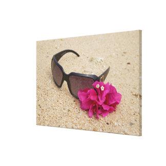 珊瑚のサングラスそしてbougainvilliaの花 キャンバスプリント