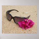 珊瑚のサングラスそしてbougainvilliaの花 ポスター