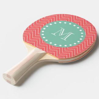 珊瑚のシェブロンパターン|真新しい緑のモノグラム 卓球ラケット