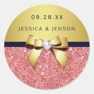 珊瑚のスパンコールの金ゴールド海軍ダイヤモンドの弓結婚式 ラウンドシール