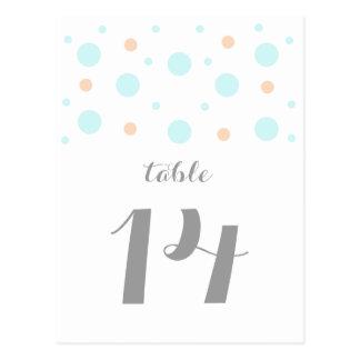 珊瑚のターコイズの紙吹雪のテーブル数郵便はがき ポストカード