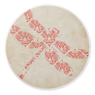 珊瑚のダマスク織のトンボの結婚式 セラミックノブ