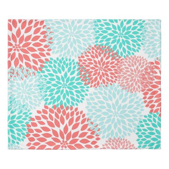 珊瑚のティール(緑がかった色)のダリアの寝室の装飾、モダンな花柄 掛け布団カバー