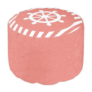 珊瑚のバーラップの航海のな舵輪は|のプリントを縞で飾ります プーフ