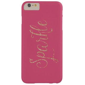 珊瑚のピンクおよび金ゴールドの模造のなグリッターの輝き BARELY THERE iPhone 6 PLUS ケース