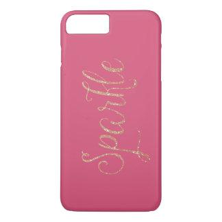 珊瑚のピンクおよび金ゴールドの模造のなグリッターの輝き iPhone 8 PLUS/7 PLUSケース