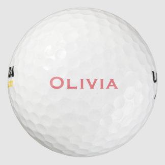 珊瑚のピンクによってカスタマイズ名前 ゴルフボール