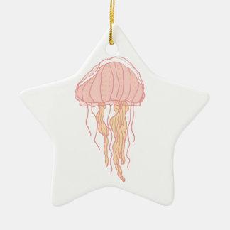 珊瑚のピンクのくらげの絵 セラミックオーナメント