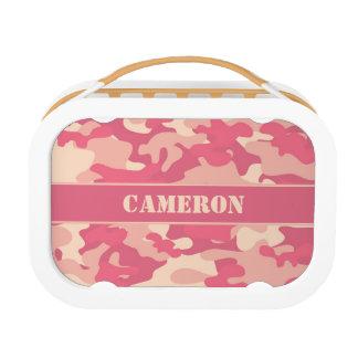 珊瑚のピンクのカムフラージュ(名前入りな迷彩柄) | ランチボックス