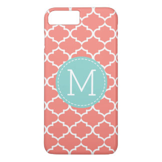 珊瑚のピンクのクローバーの名前入りなモノグラム iPhone 8 PLUS/7 PLUSケース