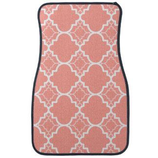 珊瑚のピンクのクローバーの幾何学的なパターン カーマット