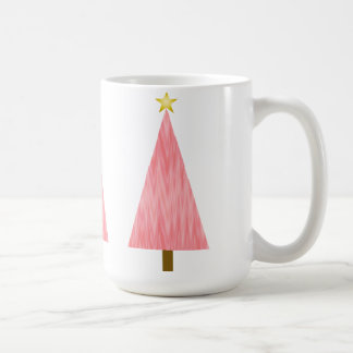 珊瑚のピンクのグラデーションでモダンなクリスマスツリー コーヒーマグカップ