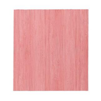 珊瑚のピンクのタケ木製の穀物の一見 ノートパッド