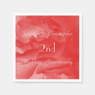 珊瑚のピンクのバラ、第2結婚記念日の紙 スタンダードカクテルナプキン