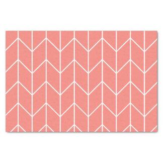 珊瑚のピンクのモダンな上品の白いシェブロン 薄葉紙
