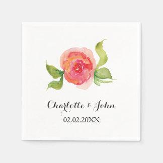 珊瑚のピンクの水彩画の花の結婚式のナプキン スタンダードカクテルナプキン