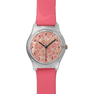珊瑚のピンクの泡 腕時計