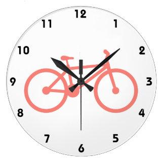 珊瑚のピンクの自転車 ラージ壁時計