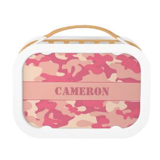 珊瑚のピンクの迷彩柄(名前入りなカムフラージュ) | ランチボックス
