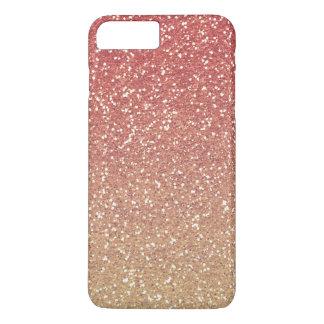 珊瑚のピンクの金ゴールドの模造のなグリッター iPhone 8 PLUS/7 PLUSケース