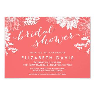 珊瑚のモダンな花のブライダルシャワー 12.7 X 17.8 インビテーションカード