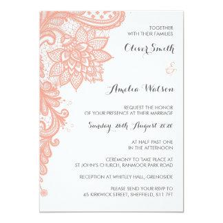 珊瑚のレースの結婚式招待状 カード