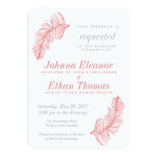 珊瑚の同類の結婚式招待状 カード