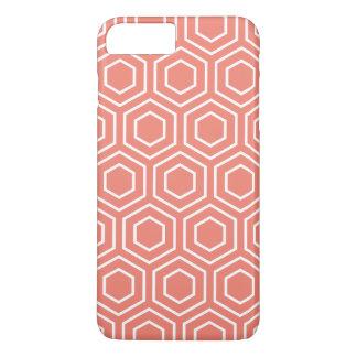 珊瑚の幾何学的なパターンiPhone 7のプラスの場合 iPhone 8 Plus/7 Plusケース