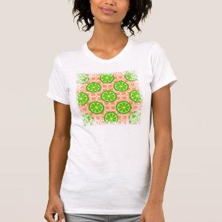 珊瑚の正方形のタイルの明るい夏の柑橘類のライム Tシャツ