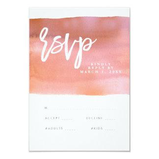 珊瑚の水彩画の結婚式のrsvpカード、応答カード カード