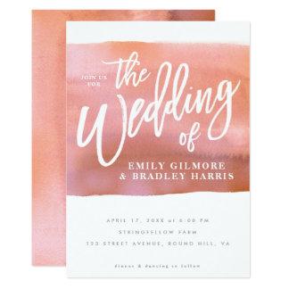 珊瑚の水彩画の結婚式招待状 カード