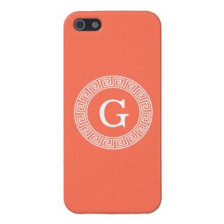 珊瑚の白いギリシャ人の鍵のRndフレームのイニシャルのモノグラム iPhone 5 カバー
