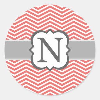 珊瑚の白いモノグラムの手紙Nシェブロン ラウンドシール
