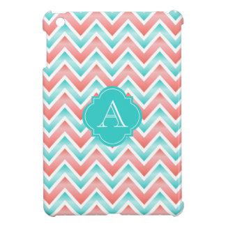 珊瑚の白い水青いシェブロン、モノグラムのiPadの場合 iPad Mini カバー