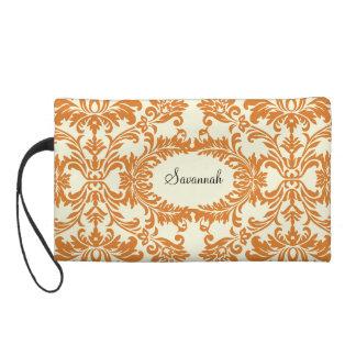 珊瑚の白鳥のダマスク織デザイナーやっとそこに財布 リストレット