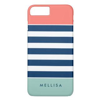 珊瑚の真新しい海軍白のストライプ-スタイリッシュなトレンディー iPhone 8 PLUS/7 PLUSケース