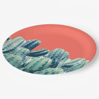 珊瑚の紙皿のサボテン ペーパープレート