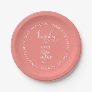 珊瑚の紙皿を幸福に結婚するおとぎ話 ペーパープレート