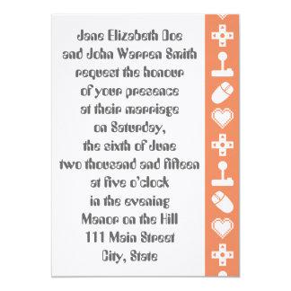 珊瑚の結婚式招待状の複数競技者用モード カード