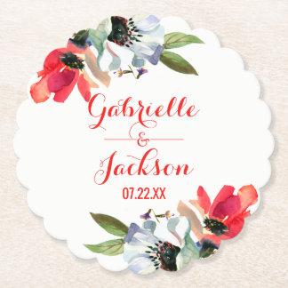 珊瑚の赤いケシの花のモノグラムの結婚式 ペーパーコースター