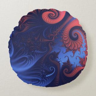 珊瑚の赤および藍色の触手 ラウンドクッション