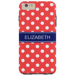 珊瑚の赤く白い水玉模様#2海軍名前のモノグラム TOUGH iPhone 6 PLUS ケース