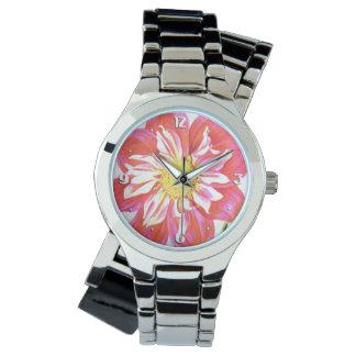 珊瑚の赤と白のストライプのなダリアのプリント 腕時計