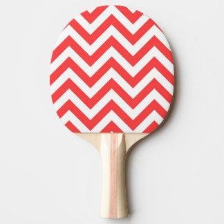 珊瑚の赤と白の大きいシェブロンのジグザグパターン 卓球ラケット