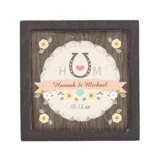 珊瑚の蹄鉄のハートの西部の結婚式の記念品箱 ギフトボックス