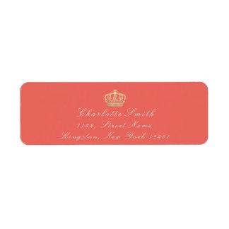 珊瑚の金ゴールドのセピア色RSVPの皇太子妃のブライダル ラベル