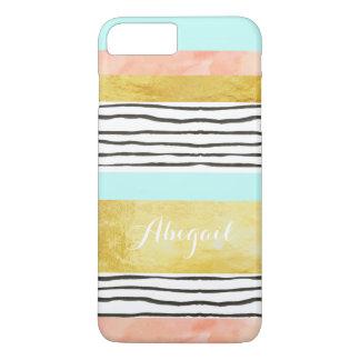 珊瑚の青い金ゴールドのストライプなiPhone 7のプラスの場合 iPhone 8 Plus/7 Plusケース