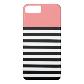 珊瑚の黒のストライプパターンColorblock iPhone 8 Plus/7 Plusケース